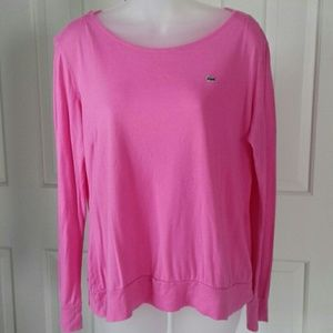 Lacoste long sleeve pink top size 46 women sz L